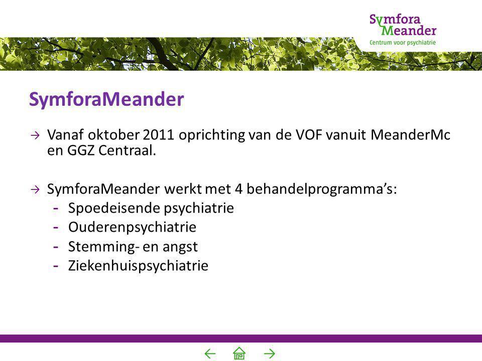 SymforaMeander Vanaf oktober 2011 oprichting van de VOF vanuit MeanderMc en GGZ Centraal. SymforaMeander werkt met 4 behandelprogramma's:
