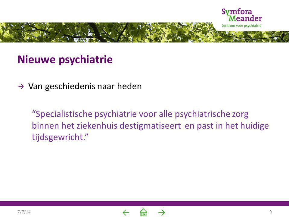 Nieuwe psychiatrie Van geschiedenis naar heden