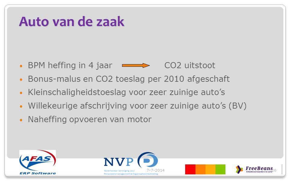 Auto van de zaak BPM heffing in 4 jaar CO2 uitstoot