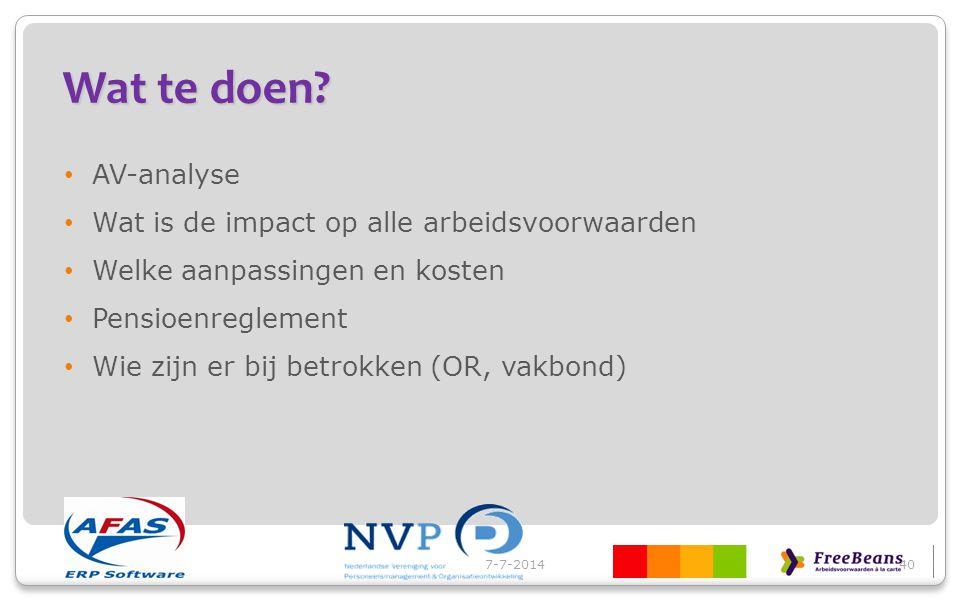 Wat te doen AV-analyse Wat is de impact op alle arbeidsvoorwaarden