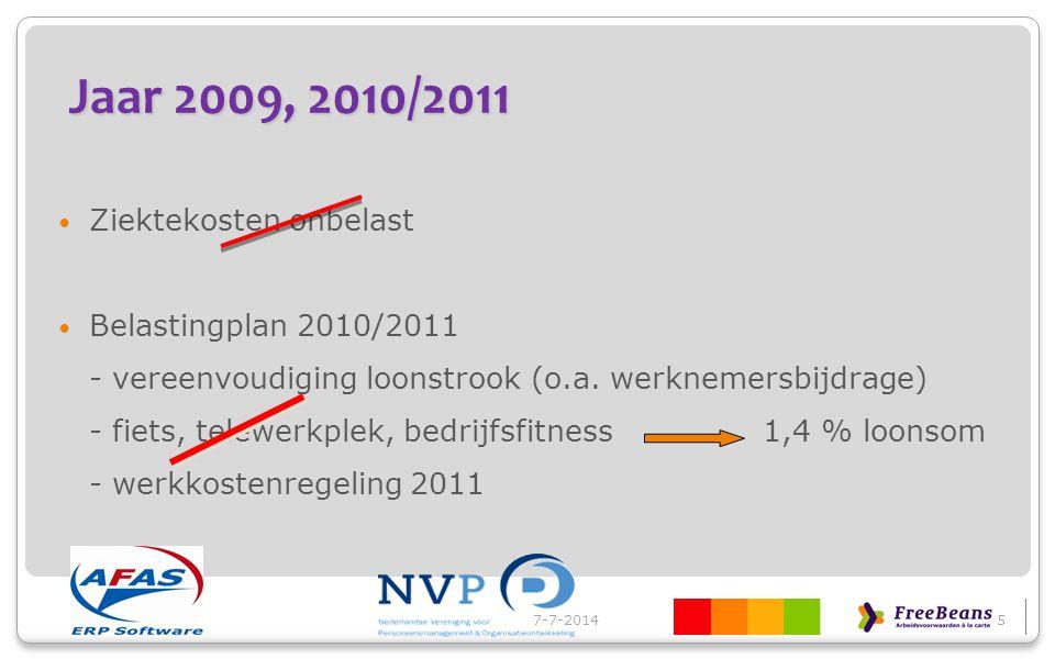 Jaar 2009, 2010/2011 Ziektekosten onbelast Belastingplan 2010/2011