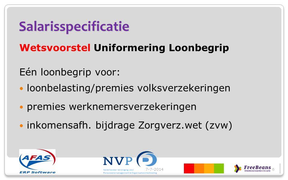 Salarisspecificatie Wetsvoorstel Uniformering Loonbegrip