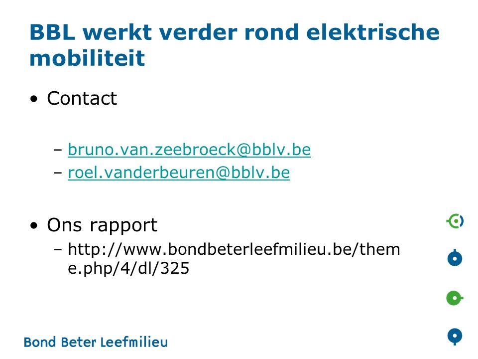 BBL werkt verder rond elektrische mobiliteit
