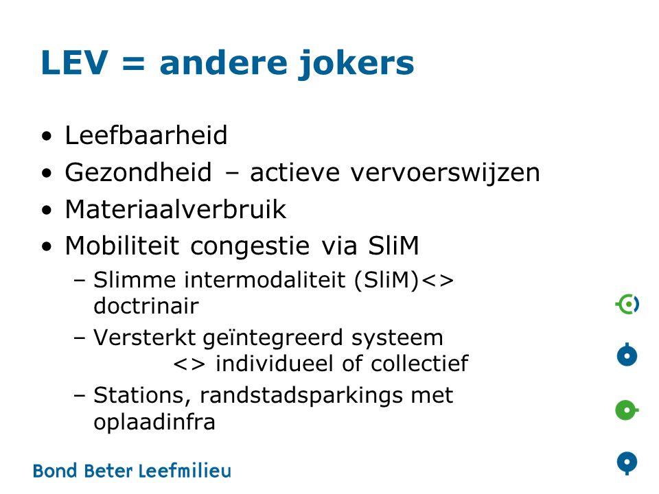 LEV = andere jokers Leefbaarheid Gezondheid – actieve vervoerswijzen