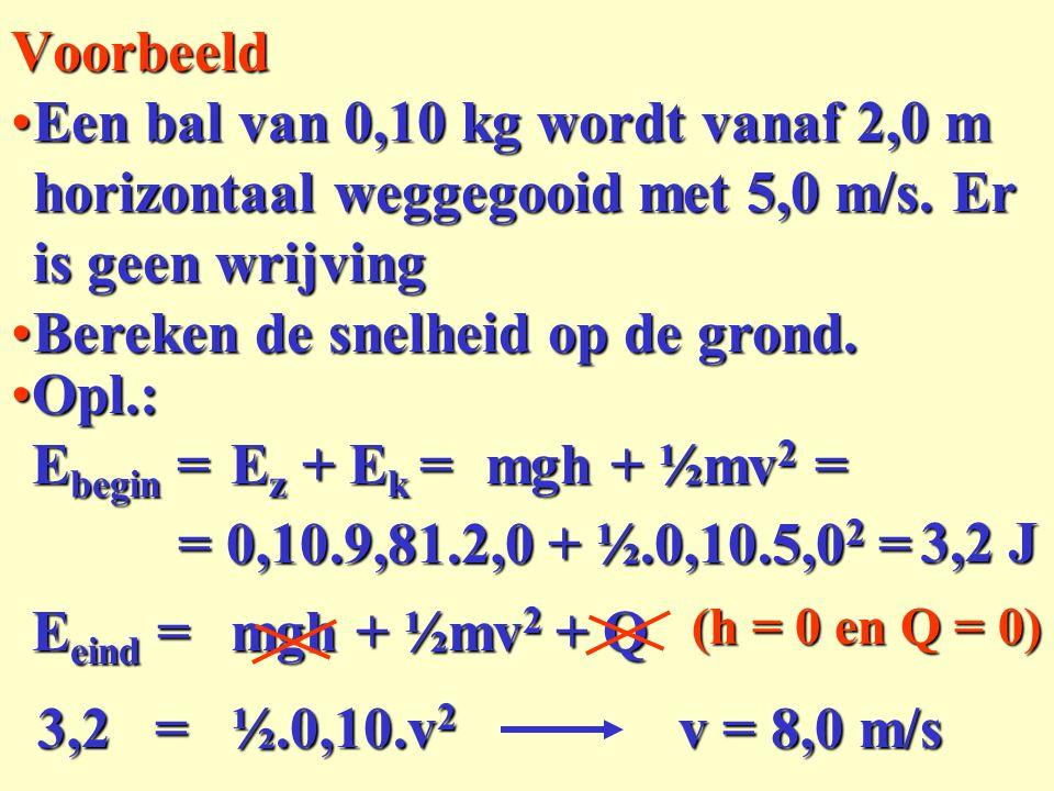 Bereken de snelheid op de grond. Opl.: Ebegin = Ez + Ek = mgh + ½mv2 =