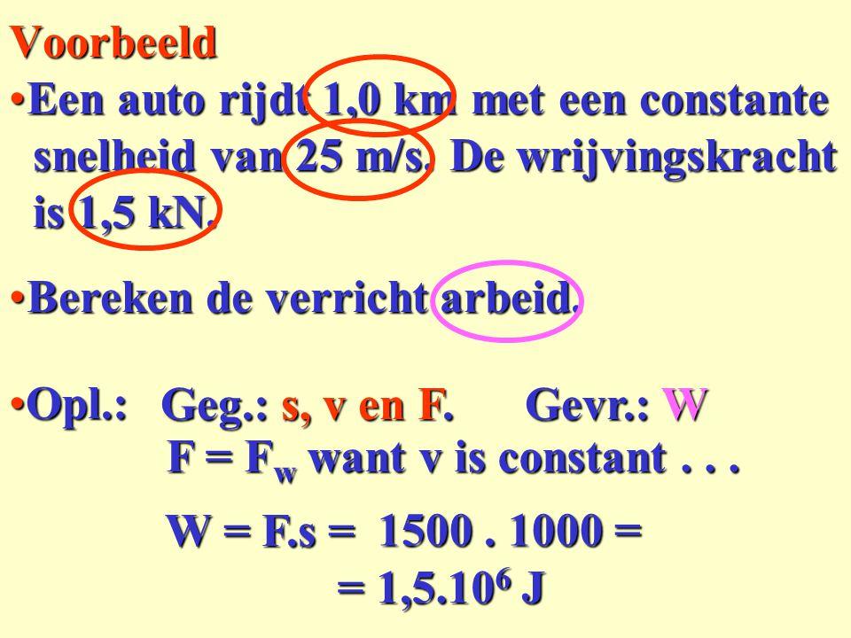 Voorbeeld Een auto rijdt 1,0 km met een constante. snelheid van 25 m/s. De wrijvingskracht. is 1,5 kN.
