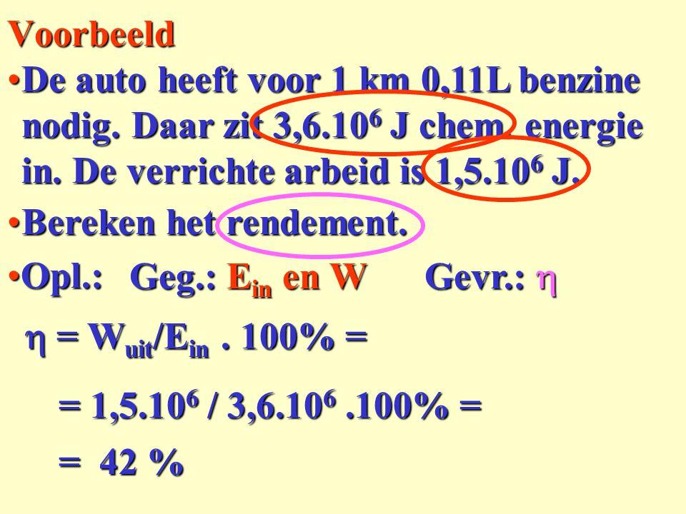 Voorbeeld De auto heeft voor 1 km 0,11L benzine nodig. Daar zit 3,6.106 J chem. energie in. De verrichte arbeid is 1,5.106 J.