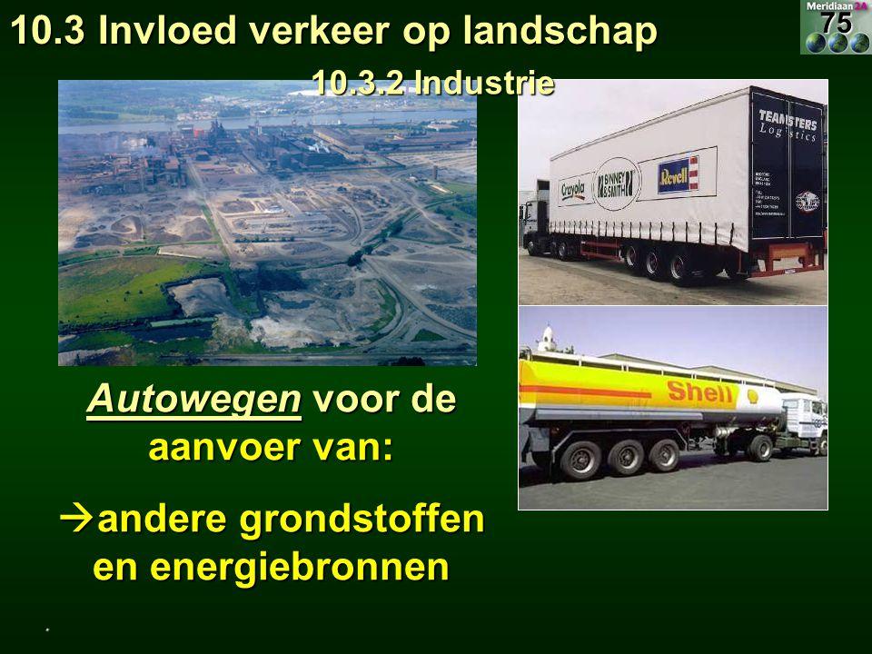 Autowegen voor de aanvoer van: andere grondstoffen en energiebronnen