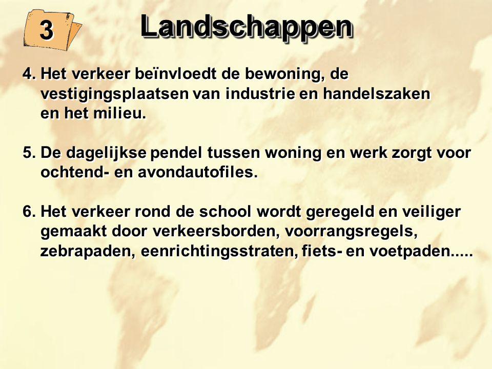 Landschappen 3 4. Het verkeer beïnvloedt de bewoning, de