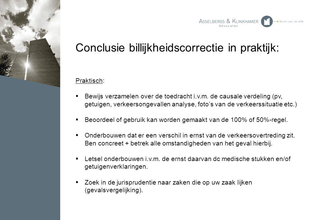 Conclusie billijkheidscorrectie in praktijk: