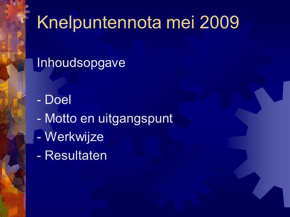 Knelpuntennota mei 2009 Inhoudsopgave - Doel - Motto en uitgangspunt