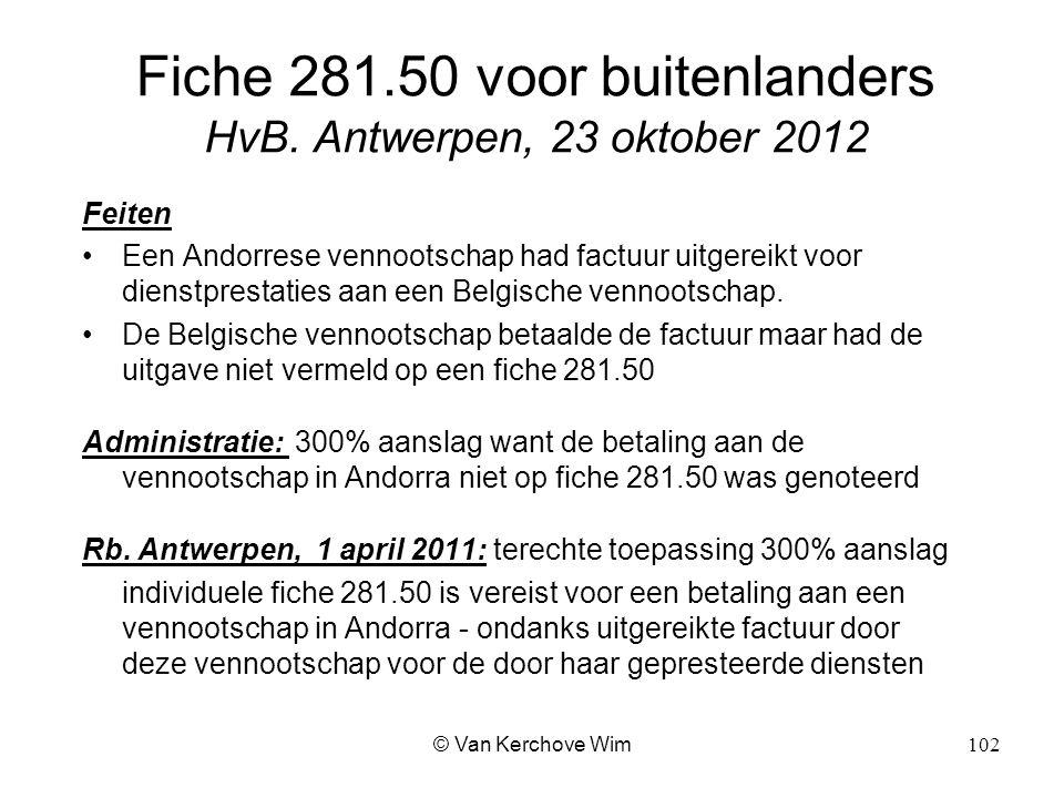 Fiche 281.50 voor buitenlanders HvB. Antwerpen, 23 oktober 2012