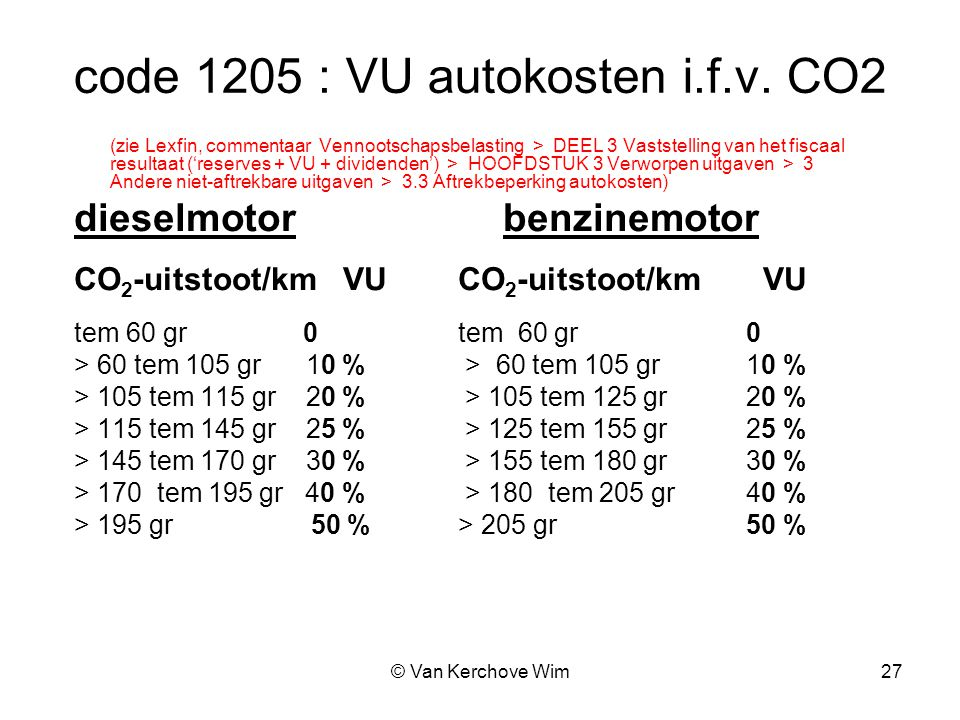 code 1205 : VU autokosten i.f.v. CO2