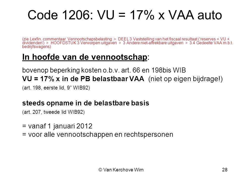 Code 1206: VU = 17% x VAA auto In hoofde van de vennootschap:
