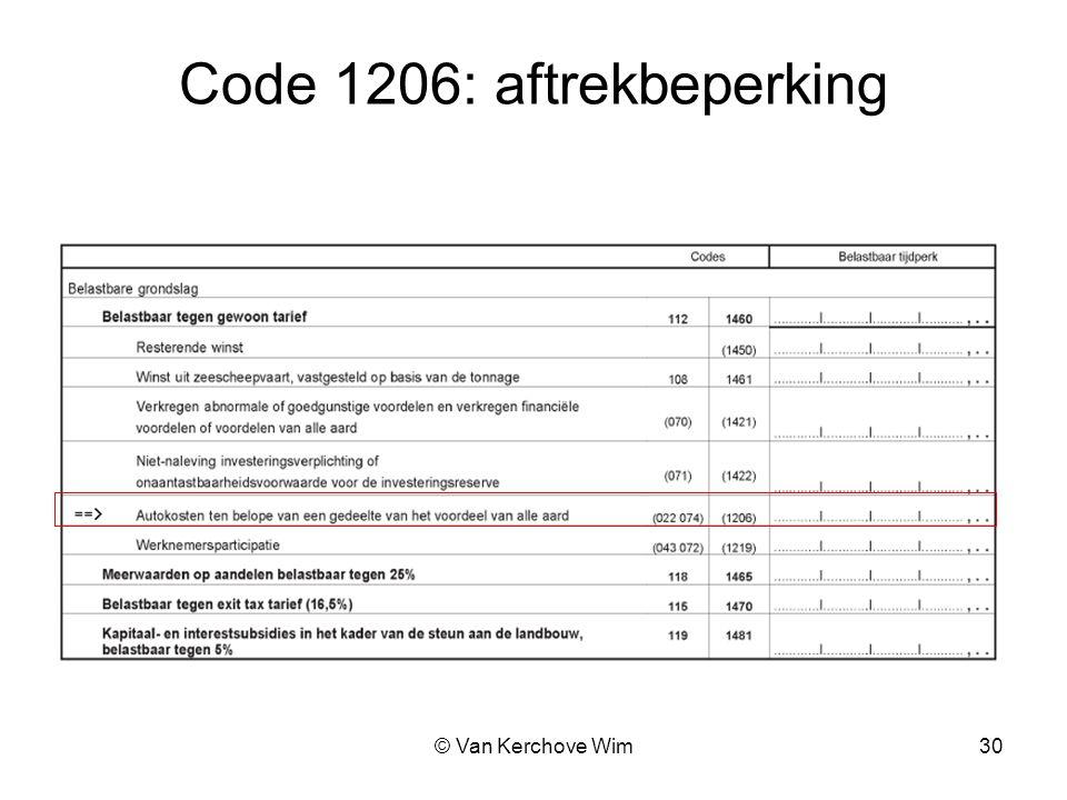 Code 1206: aftrekbeperking