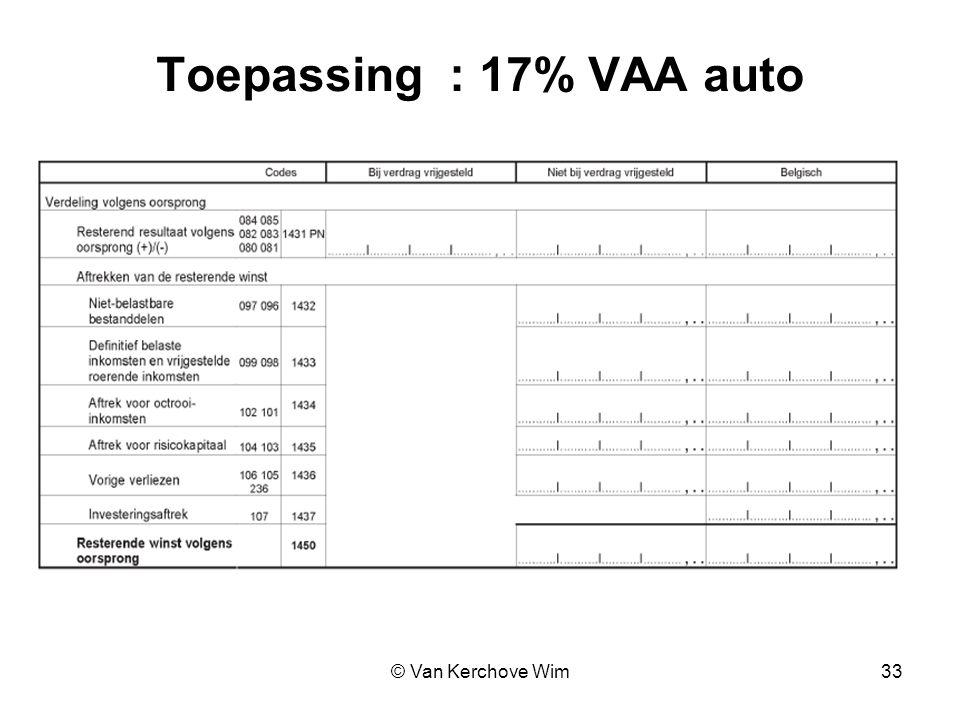 Toepassing : 17% VAA auto © Van Kerchove Wim 33