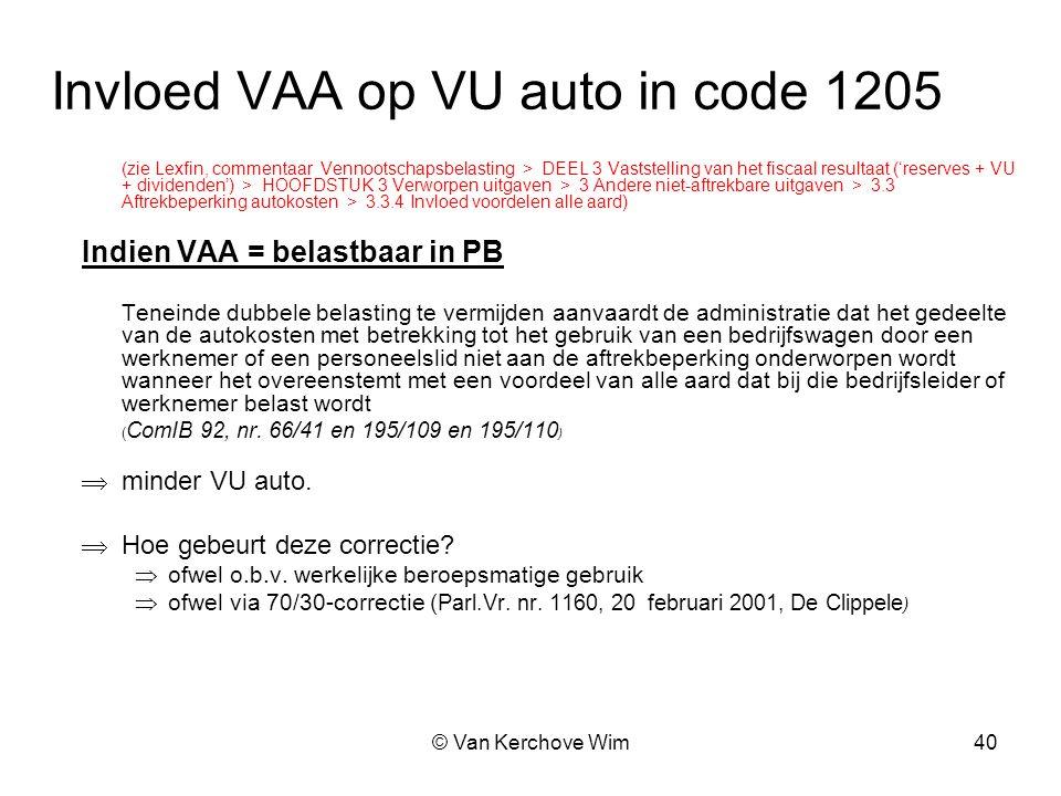 Invloed VAA op VU auto in code 1205