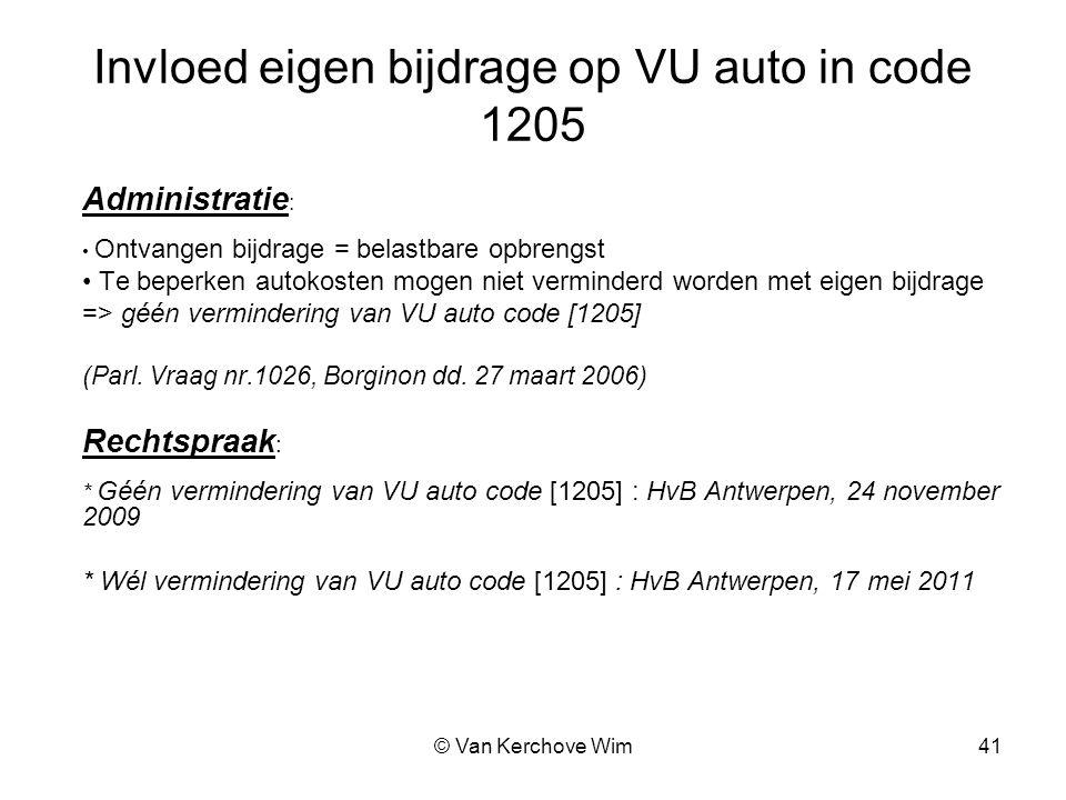 Invloed eigen bijdrage op VU auto in code 1205