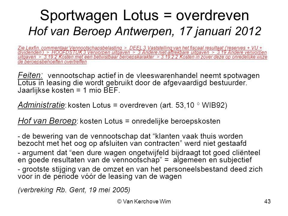 Sportwagen Lotus = overdreven Hof van Beroep Antwerpen, 17 januari 2012