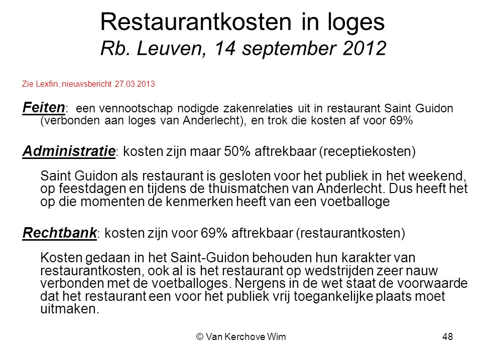 Restaurantkosten in loges Rb. Leuven, 14 september 2012