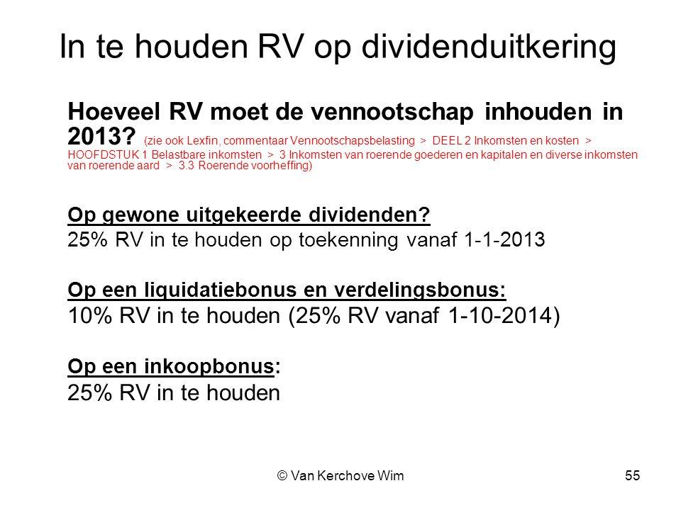 In te houden RV op dividenduitkering