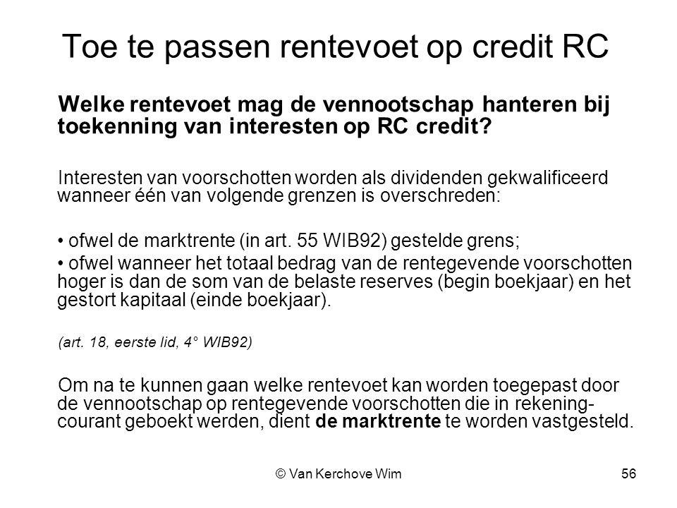 Toe te passen rentevoet op credit RC