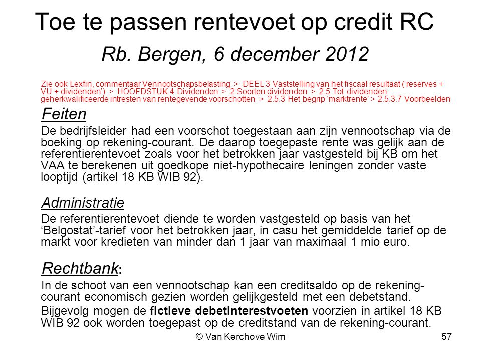 Toe te passen rentevoet op credit RC Rb. Bergen, 6 december 2012
