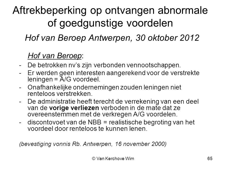 Aftrekbeperking op ontvangen abnormale of goedgunstige voordelen Hof van Beroep Antwerpen, 30 oktober 2012