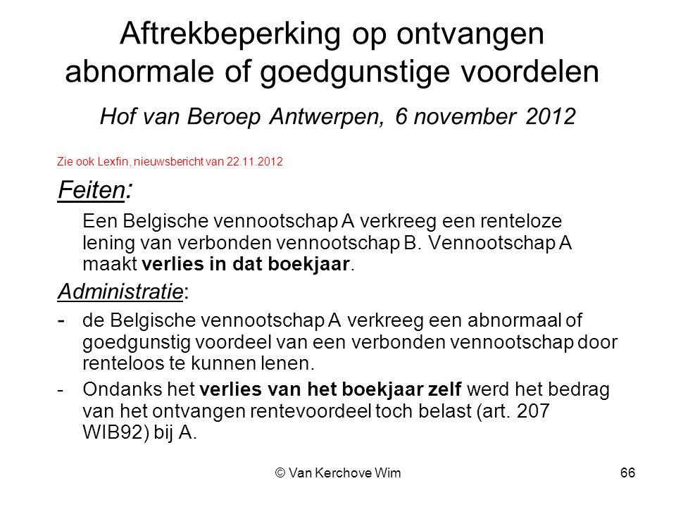 Aftrekbeperking op ontvangen abnormale of goedgunstige voordelen Hof van Beroep Antwerpen, 6 november 2012