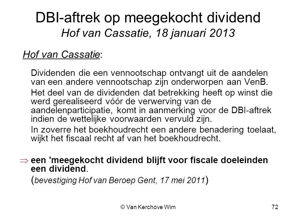 DBI-aftrek op meegekocht dividend Hof van Cassatie, 18 januari 2013