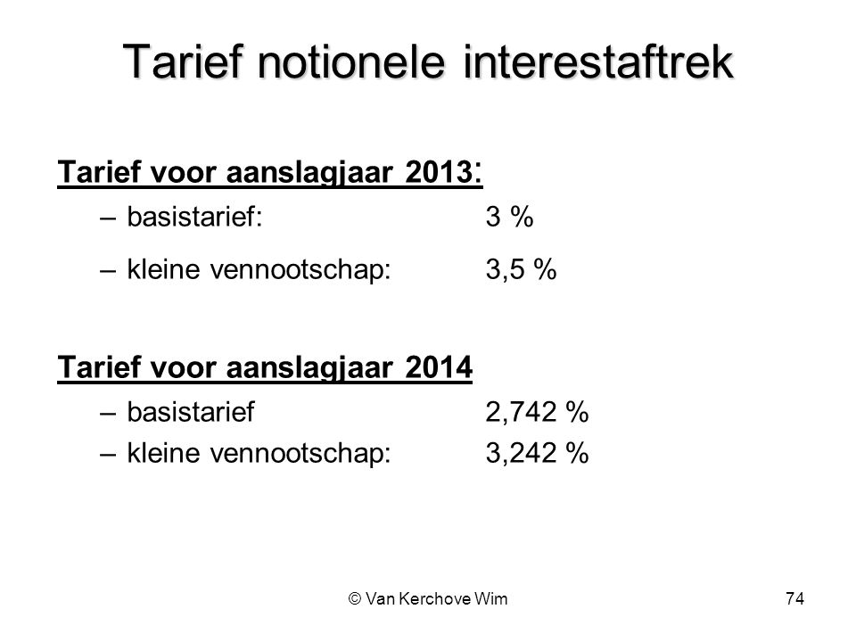 Tarief notionele interestaftrek