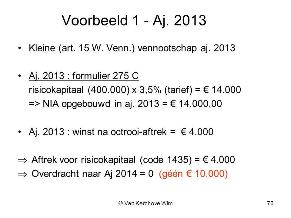 Voorbeeld 1 - Aj. 2013 Kleine (art. 15 W. Venn.) vennootschap aj. 2013
