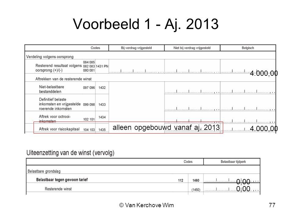 Voorbeeld 1 - Aj. 2013 4.000,00 alleen opgebouwd vanaf aj. 2013