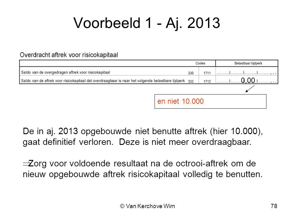 Voorbeeld 1 - Aj. 2013 0,00. en niet 10.000. De in aj. 2013 opgebouwde niet benutte aftrek (hier 10.000),