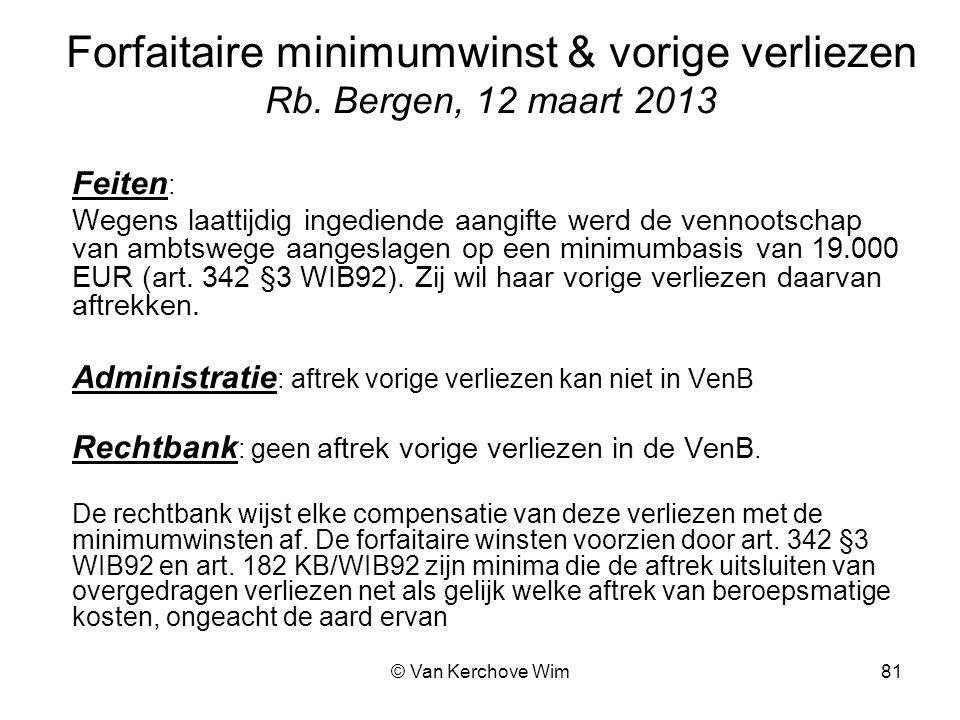 Forfaitaire minimumwinst & vorige verliezen Rb. Bergen, 12 maart 2013
