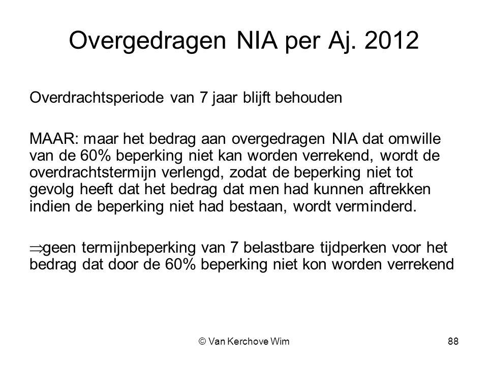 Overgedragen NIA per Aj. 2012