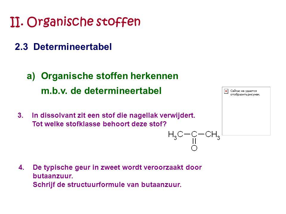 II. Organische stoffen 2.3 Determineertabel