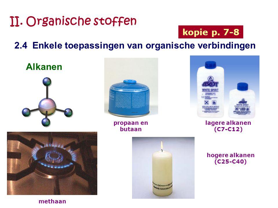 II. Organische stoffen kopie p. 7-8. 2.4 Enkele toepassingen van organische verbindingen. Alkanen.
