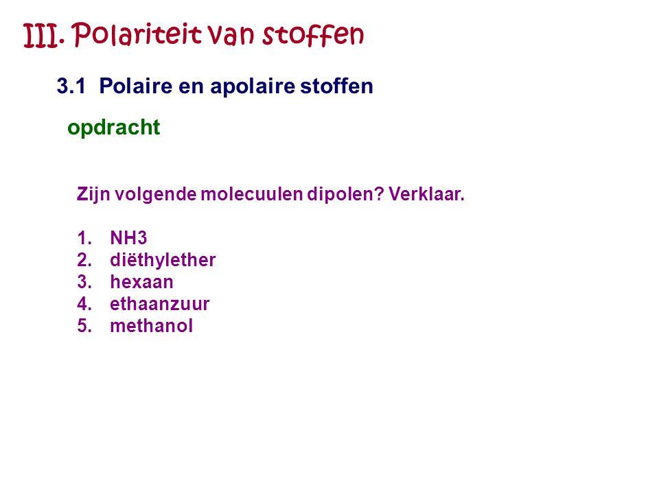 III. Polariteit van stoffen