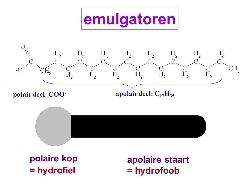 emulgatoren polaire kop apolaire staart = hydrofiel = hydrofoob