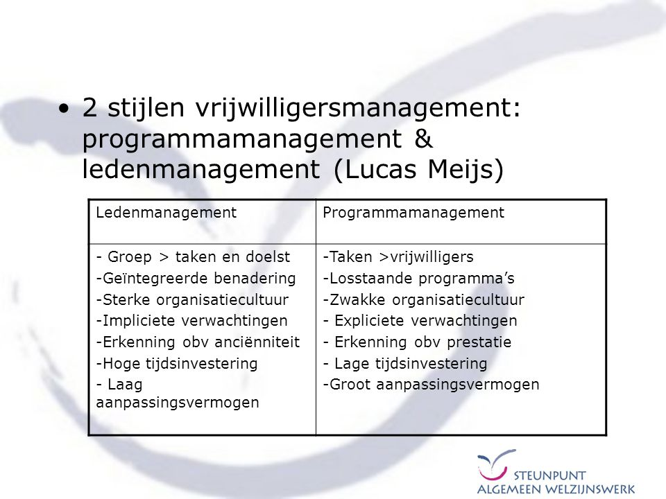 2 stijlen vrijwilligersmanagement: programmamanagement & ledenmanagement (Lucas Meijs)