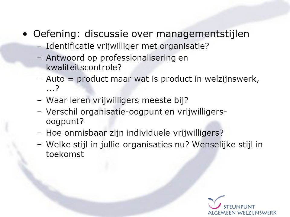 Oefening: discussie over managementstijlen