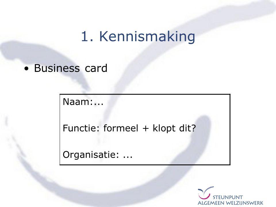 1. Kennismaking Business card Naam:... Functie: formeel + klopt dit