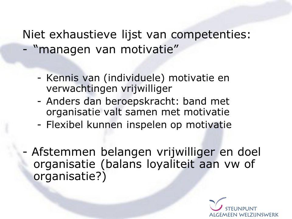 Niet exhaustieve lijst van competenties: managen van motivatie