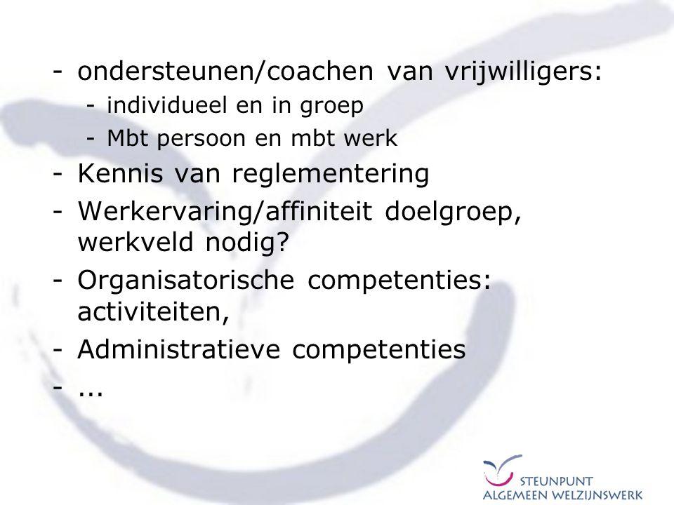ondersteunen/coachen van vrijwilligers: