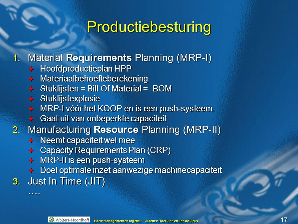 Productiebesturing Material Requirements Planning (MRP-I)