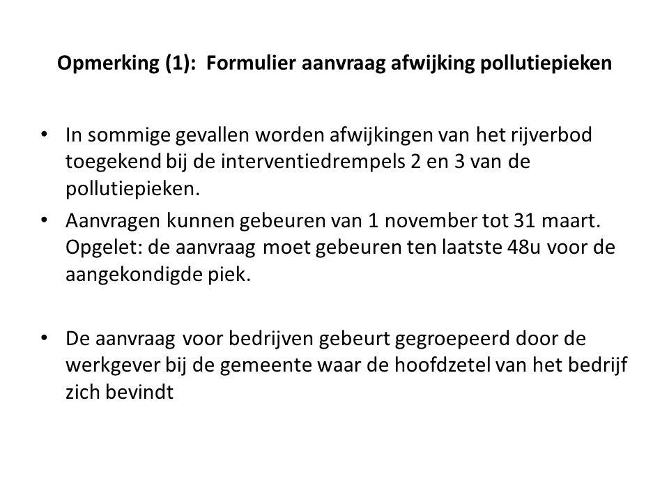 Opmerking (1): Formulier aanvraag afwijking pollutiepieken
