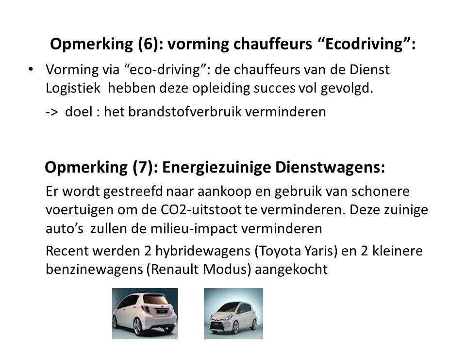 Opmerking (6): vorming chauffeurs Ecodriving :