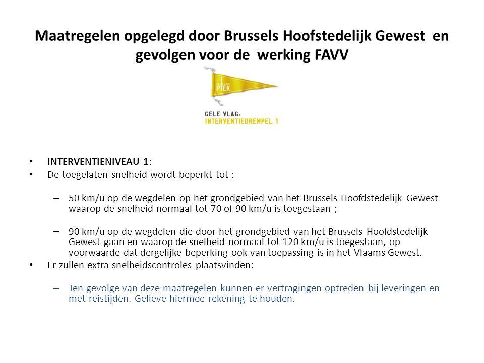 Maatregelen opgelegd door Brussels Hoofstedelijk Gewest en gevolgen voor de werking FAVV