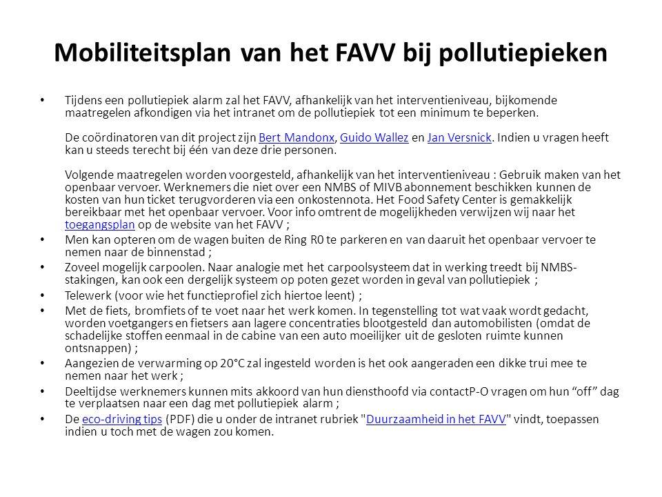 Mobiliteitsplan van het FAVV bij pollutiepieken